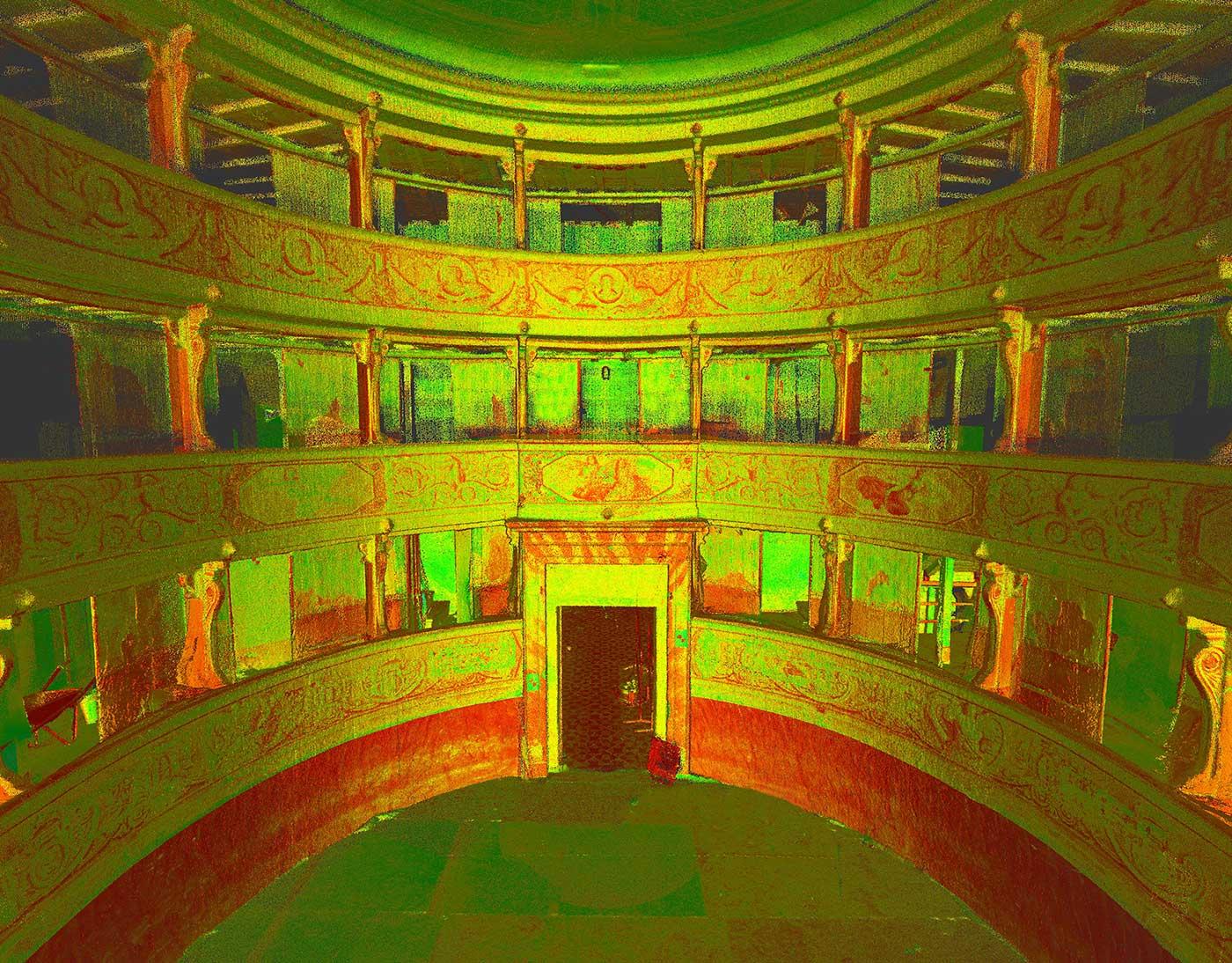 Rilievo laser scanner 3D - Teatro comunale G. Rinaldi a Reggiolo (RE)